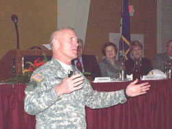 Brigadier Gen. James Yarborugh speaking at 96th annual Chamber of Commerce meeting